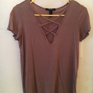 Brown Crisscross v-neck